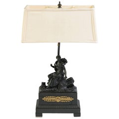 19th Century, French Classical Bronze Lamp