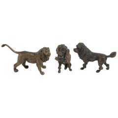 Three Vienna Bronzes of a Dog, Poodle and Lion