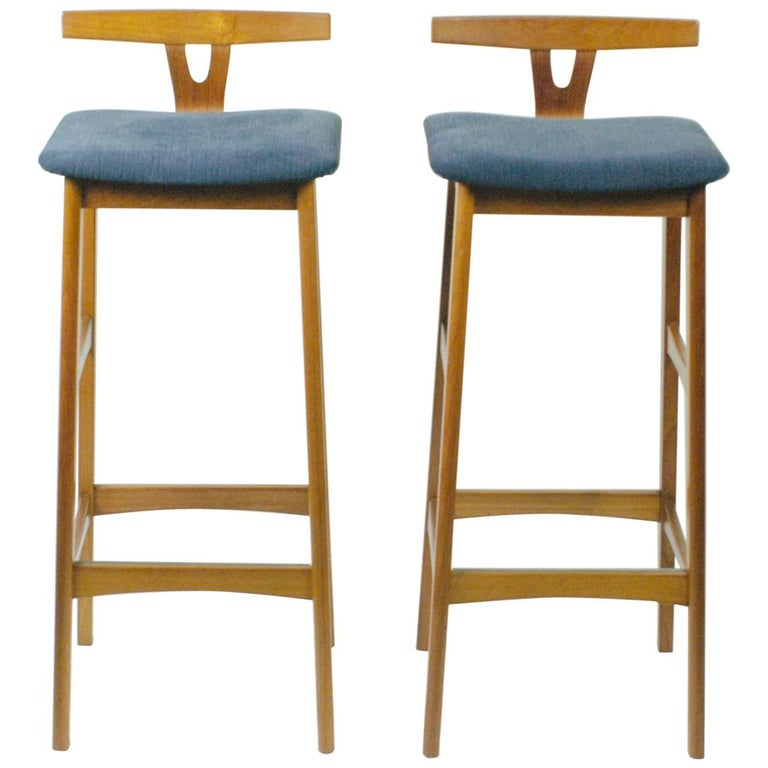 Danish 1960s Teak Barstools by Knud Bent for Dyrlund