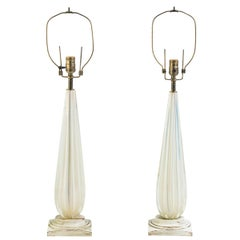 Pair of 1960s Gold Fleck Murano Lamps
