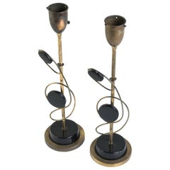 Pair of 1950s Atomic Brass or Metal Lamps