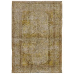 Silk Turkish Sivas Rug in Shades of Ivory, Brown and Yellow