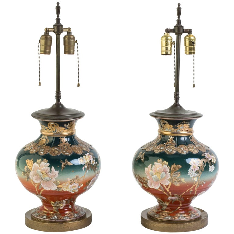 Pair of 1920s Satsuma Table Lamps