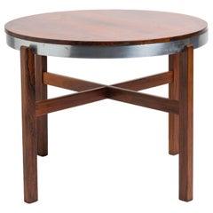 Norwegian Rosewood Side Table with Metal Trim