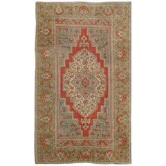 Floral Mid-Century Turkish Oushak Vintage Rug in Red, Blue, Green and Ivory