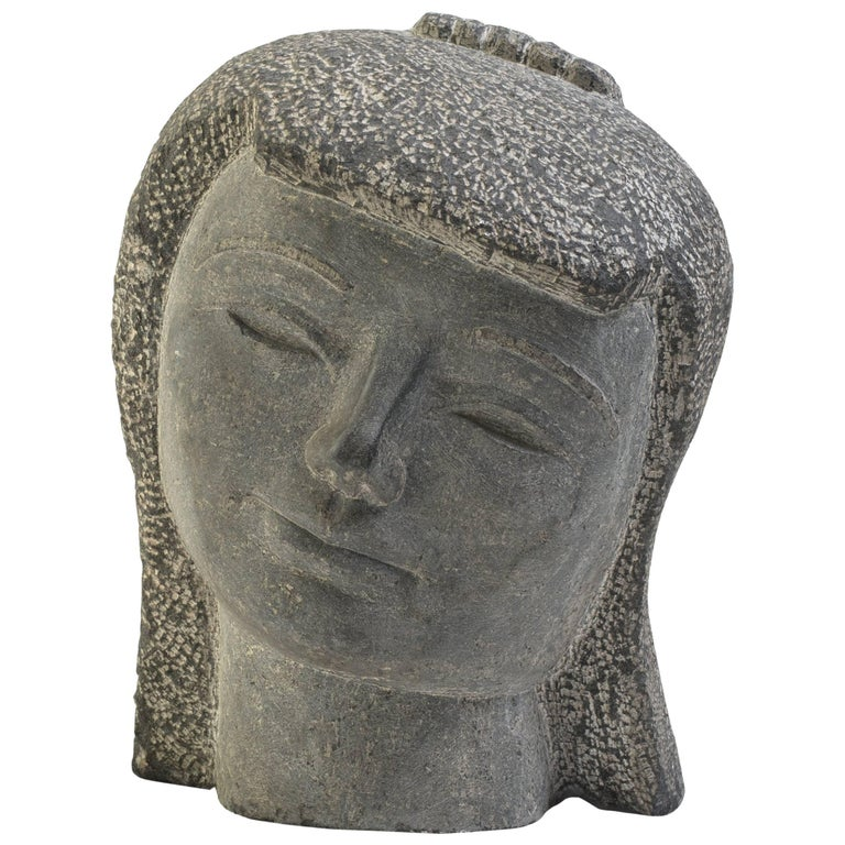 Carved stone kwan yin head for sale at stdibs