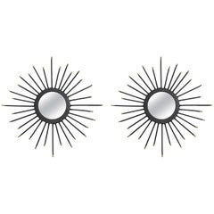 Pair of Small Iron Sunburst Mirrors
