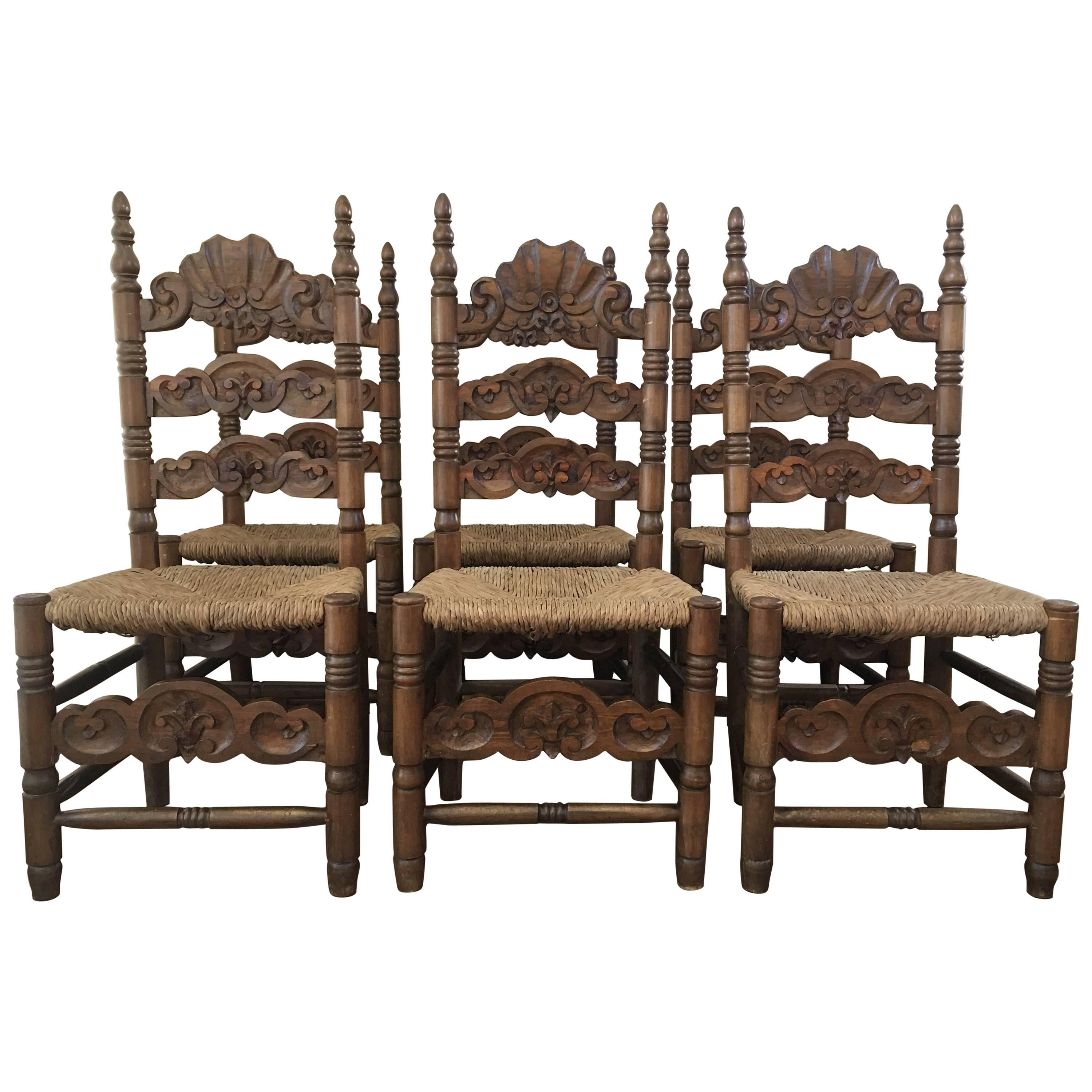 Set Of Six Chairs, Turned And Carved Wood, With Straw Seat Of The 20th