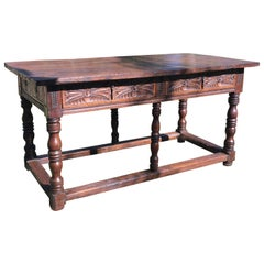 17th Century Spanish Refectory Table or Farm Table with Drawers