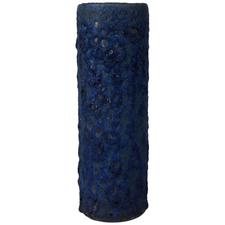 Blue Fat Lava Vase, West Germany, 1970s