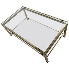 Maison Jansen Sophisticated 1970s Two-Tier Brass Coffee Table