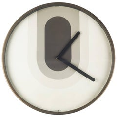 Howard Miller Wall Clock in Metal, Glass with Beige, Grey, Bronze Color, 1970s