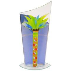 Mid-Century Modern Glass Handkerchief Vase with Hand-Painted Palm Tree Design