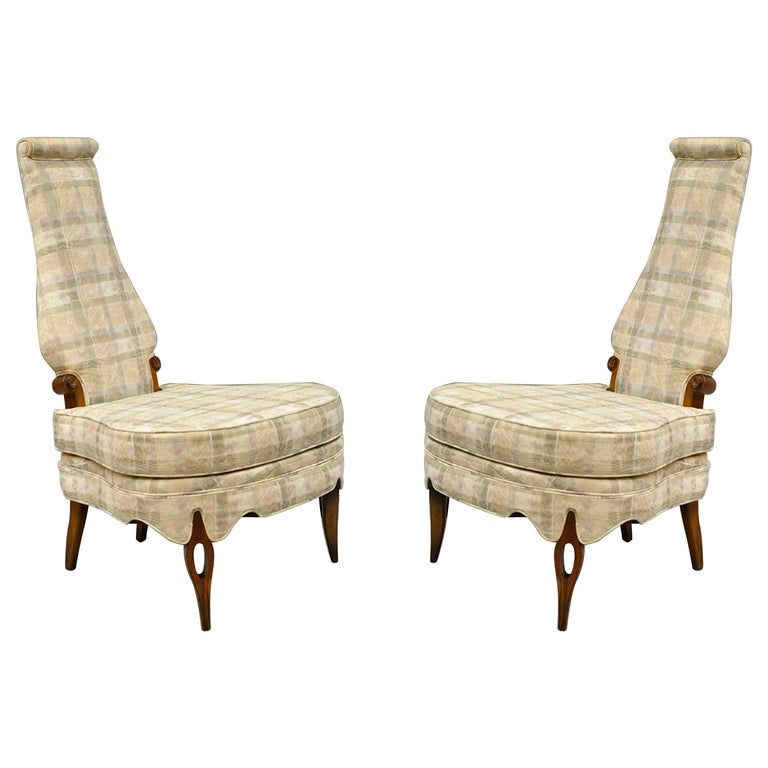 Pair of Hollywood Regency High Back Slipper Lounge Chairs After Dorothy Draper