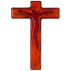 Wall Cross in Ceramic, Orange, Handmade in Belgium, 1960s