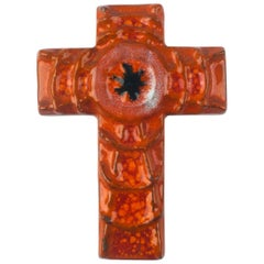 Wall Cross in Ceramic, Orange, Black, Handmade in Belgium, 1970s