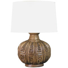 Northern European Ceramic Lamp with Low Relief Geometric Design