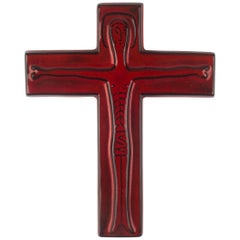 Wall Cross in Ceramic, Red, Black, Handmade in Belgium, 1960s