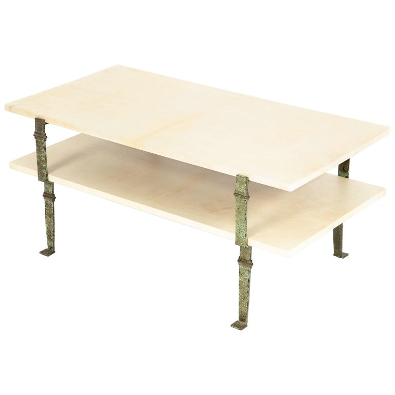 Maurice Vignon Tierd Goatskin Parchment Coffee Table with Patinated Metal Legs For Sale