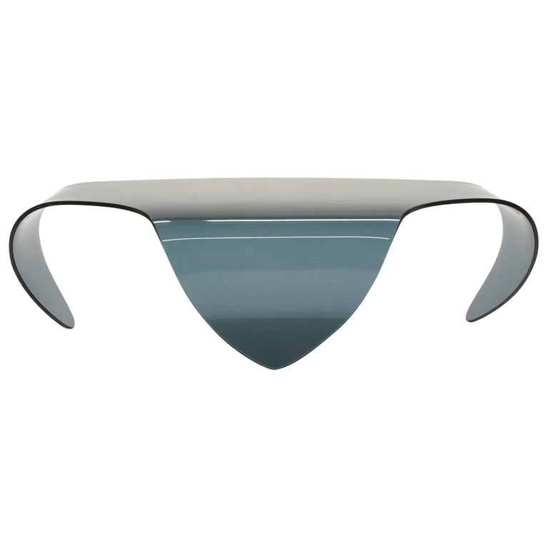 All Glass Coffee Table Biomorphic Sculptural Blue Gray Glass Form For Sale At 1stdibs