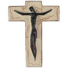 Wall Cross in Ceramic, Black, Brown, Beige, Handmade in Belgium, 1950s