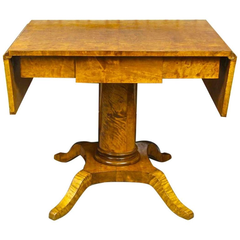 Swedish Biedermeier Antique Drop-Leaf Table Golden Birch Tiger Stripe