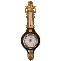 French Louis XVI Pd. Giltwood Barometer and Thermometer