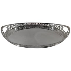 Antique Edwardian Dutch Pierced and Beaded Silver Serving Tray