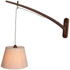 J.T. Kalmar Dornstab Teak Swing Arm Wall Lamp, Austria, 1950s