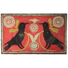 Cotton and Wool Shirred Rug Featuring Two Blackbirds on a Red Ground