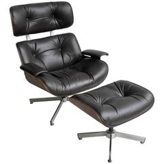 George Mulhauser for Plycraft Leather Lounge Chair with Ottoman in Brown Leather