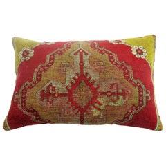 Vintage Oushak Floor Rug Pillow