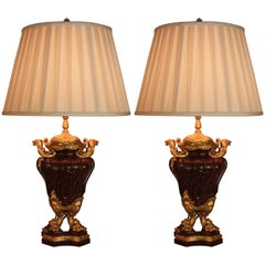 Pair of French Rouge Marble and Gilt Bronze Urn Table Lamps