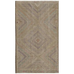Turkish Kilim Rug with All-Over Diamond Design in Blue, Red, Green, Gray, Red