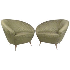 Elegant Pair of Italian Modern Lounge Chairs in the Style of Ico Parisi