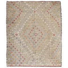Taupe Background Turkish Kilim Vintage Rug with All-Over Tribal Diamond Pattern
