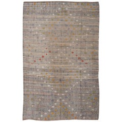 Vintage Turkish Kilim Rug with Striped Background, Colorful Diamond Pattern
