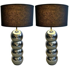 Pair of Chrome Stacked Ball Table Lamps by George Kovacs, 1970s