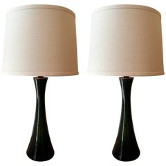 Pair of Green Glass Swedish Berndt Nordstedt Bergbom, 1960s Table Lamps