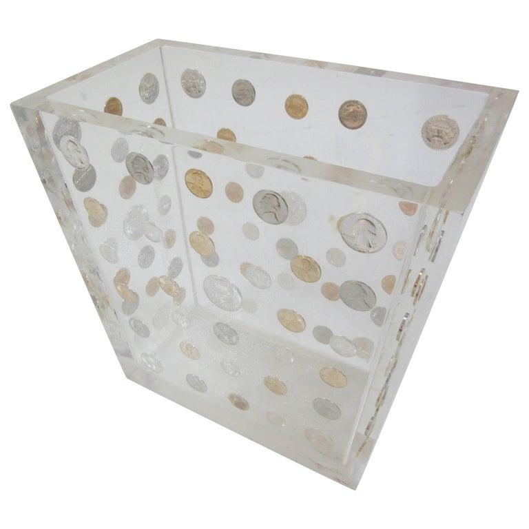Lucite Waste Can with American Coins form the 1970s 1