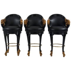 Set of Three Black Lacquered Empire Style Leather Barstools