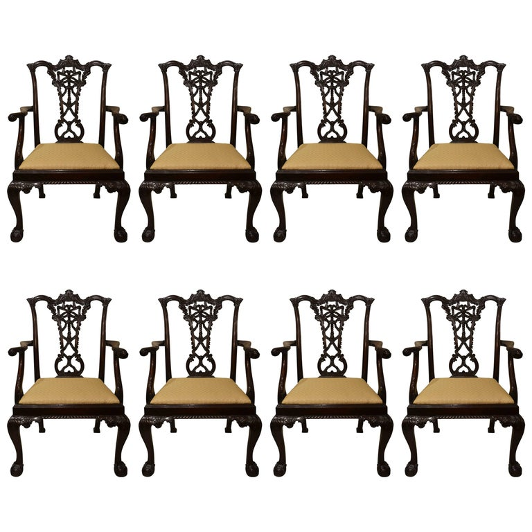 Set of Eight Antique 19th Century Mahogany Chairs