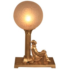 Art Deco Bronze Harlequin and Glass Shade Table Lamp