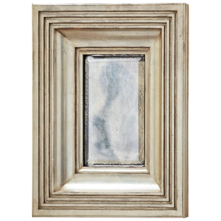 Degas No. 4 Fluted/Reeded Wall Mirror, Gilded in White Gold by Bark Frameworks