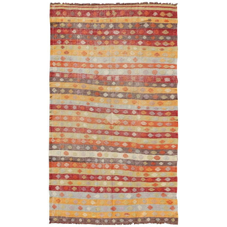 Colorful vintage turkish kilim rug with horizontal stripes for Kilim designs