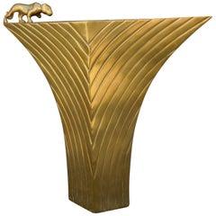 Large 1980s Modern Dolbi Cashier Brass Panther Art Deco Vase