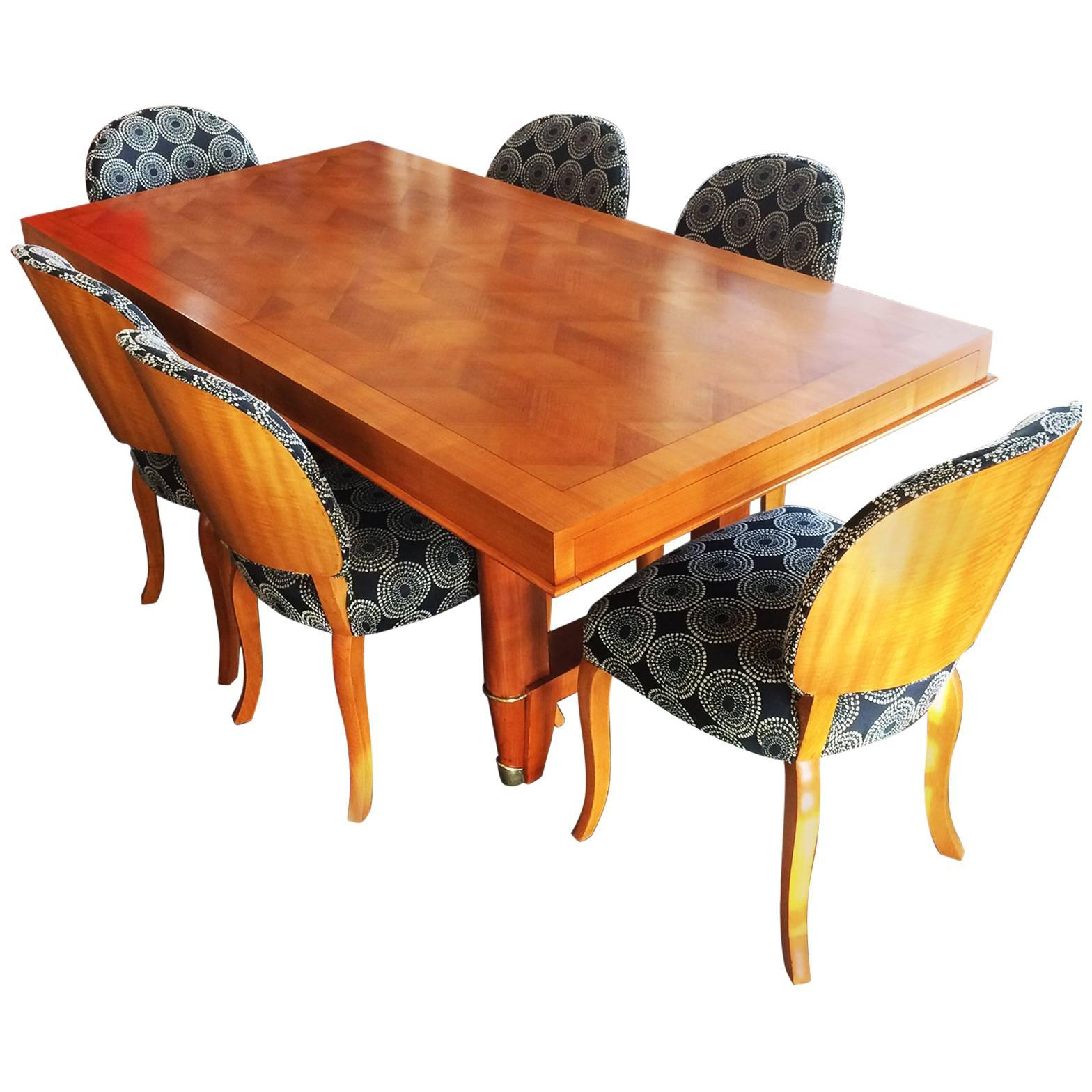 Art Deco French Oak Dining Suite Table And Chairs Seat Ten