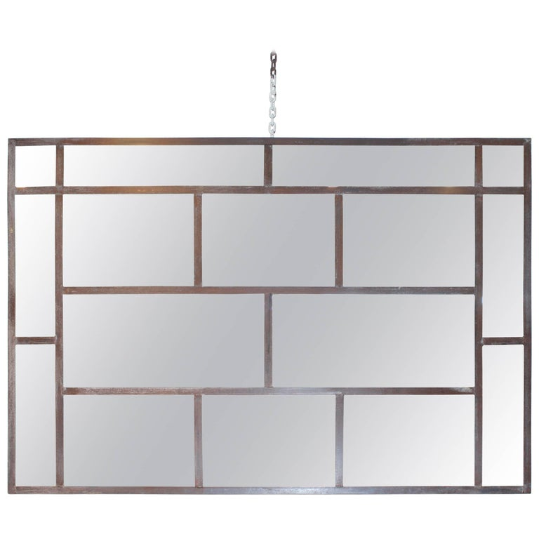 Vintage Steel Window Frame as Multipane Mirror For Sale at 1stdibs