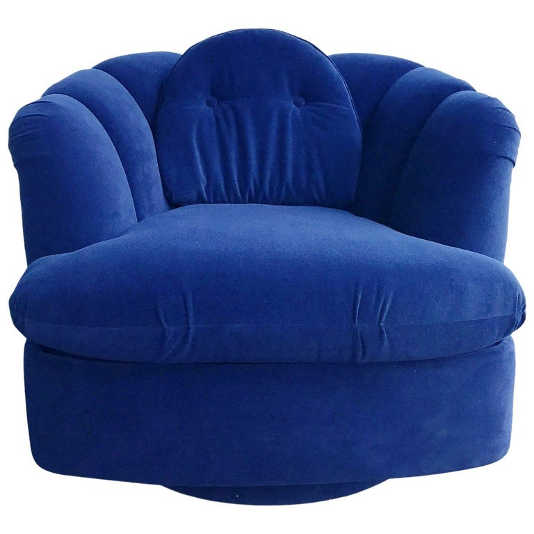 Restored Velvet Swivel Lounge Chair by Milo Baughman for Thayer Coggin For Sale