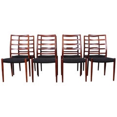 Set of Eight Rosewood Model 82 Dining Chairs by Niels Møller